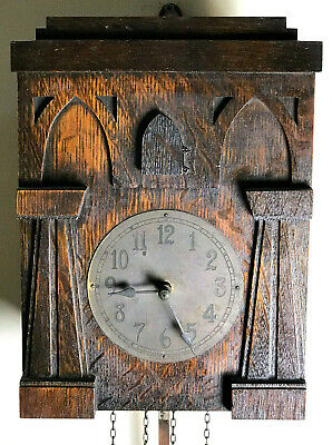 c1908 Antique Mission AMERICAN CUCKOO CLOCK Black Forest Style 305 Oak Craftsman