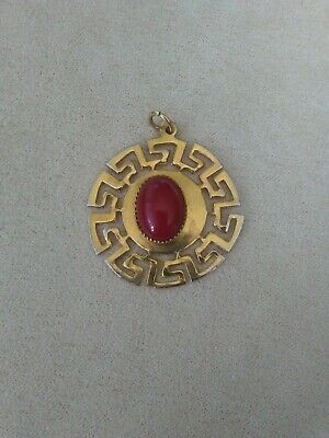 Goldtone Vintage or Antique Greek Pendant with Red Stone, Marked Made in Greece