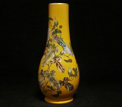 Antique Signed & Hand-Painted Asian Chinese Porcelain Pottery Grasshopper Vase