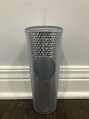 STARBUCKS Platinum Silver Studded Cold Cup Tumbler WINTER HOLIDAY 2019 24 oz