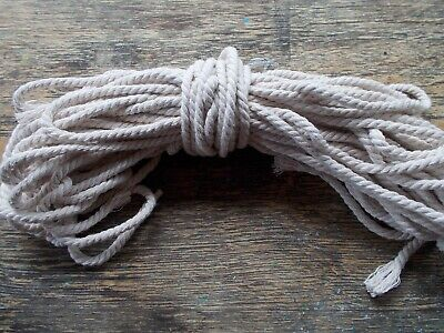 20m of 5mm wide macrame cord twisted cotton rope, colour is off-white