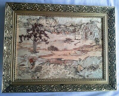 Vintage Paperbark Art Painting in Decorative gold coloured Timber Frame