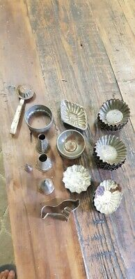 Large collection of vintage tin pasty sweet moulds