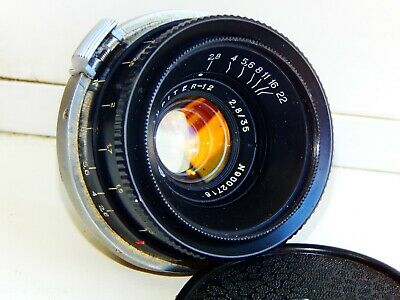 RARE BLACK JUPITER-12 EXPORT RF Wide Angle 2.8/35 USSR lens for Contax/Kiev EXC