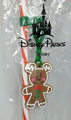Disney Parks Christmas Gingerbread  Candy cane Mickey Straw Brand New