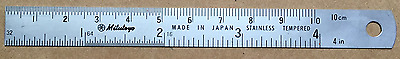 "Mitutoyo 182-301 4""/100 mm Semi Flexible Ruler (1/16,1/32,1/67"",1mm,0.5mm) on on"