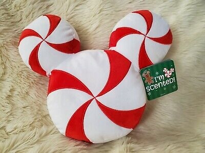 Disney Parks Holiday Scented Mickey Peppermint Candy Cane Plush Pillow 2019 NWT
