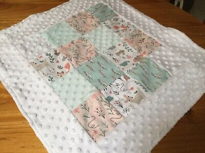 Handmade Baby Pram Blanket Baby Shower Gift Minky White Unisex Woodland Animals