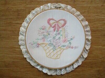 Framed With Hoop Embroidery Of A Basket Of Flowers With Lace. 32Cms Wide.