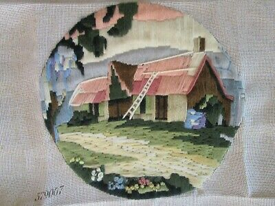 Myart Brand Completed Long Stitch Of A Basalt Barn 27Cms High X 28Cms Wide