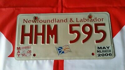 Plaque d'immatriculation Newfoundland HHM 595 Canadian License Plate