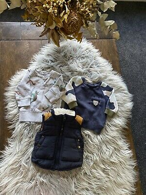 3 x Jumpers Puffer Jacket 000 & 0000 Newborn 0-3 Months Some New Without Tags