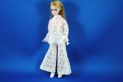 Vintage Sindy White Hippy Style Outfit Pants, Top & Shoes Matching Set