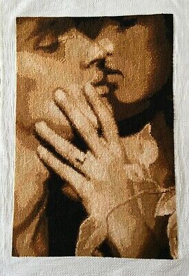 Handmade Complete Cross Stitch Picture 'Lovers' Unique Gift Size 14''*9.5''