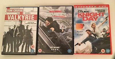 Three Tom Cruise DVDs Knight and Day, Valkyrie and Mission Impossible Ghost Prot