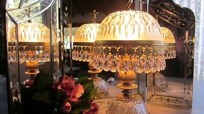 Vintage Genuine French Cherub Dome Crystal Glass Chandelier Parlor Table Lamp