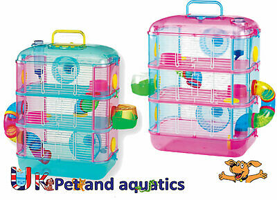 Hamster Cage 3 Storey With Tubes, Pink Or Blue, With Optional Spare Tube Pack