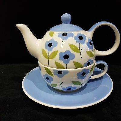 Whittard Teapot For One With Saucer White With Blue Flowers NEW np
