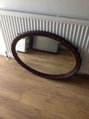 Lovely Vintage/Antique Wall Mirror Mahogany Oval Bevelled Edge, Carved Frame