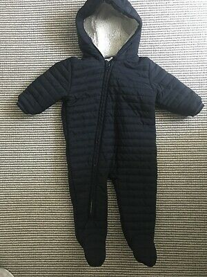 Next Baby Boy Navy Blue Snowsuit Pramsuit Coat Jacket 6-9 months
