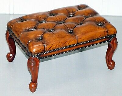 Stunning Fully Restored Hand Dyed Brown Leather Chesterfield Footstool Ornate