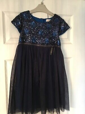 Mini Boden Girls Navy Blue Sequin & Tulle Party Dress, age 7-8 years