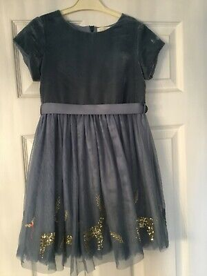 Mini Boden Girls Velvet & Tulle Powder Blue Sequin Reindeer Dress, age 7-8 years