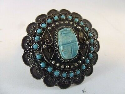 OLD Egyptian REVIVAL Filigree STERLING SILVER Carved Turquoise SCARAB Beetle