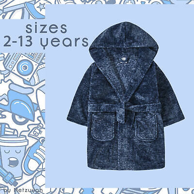 Boys Dressing Gowns Classic Plain Navy Blue Soft Fleece Robes Kids 2-13 Years UK