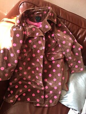 Mini Boden Velvet Coat Girls Age 7-8 Spotty Good Condition