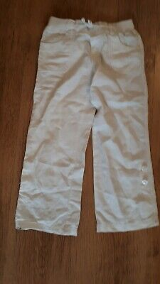 Marks and Spencers White Girls Trousers  linen/cotton blend    Age 4-5 Years