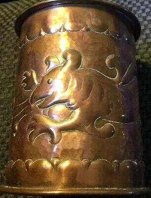 Newlyn Tea Caddy.Repousse Copper. Lovely Fish Design.Rivets Down The Side.