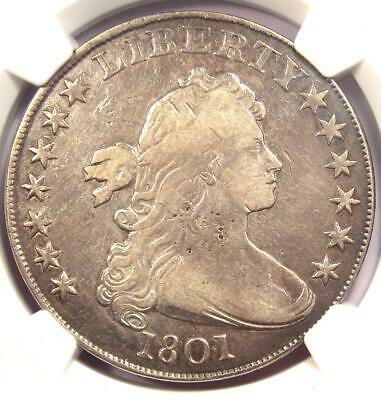 1801 Draped Bust Silver Dollar $1 - Certified NGC VF Details - Rare Coin!