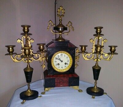 Beautiful French Marble Garniture Clock Movement by Verger Freres