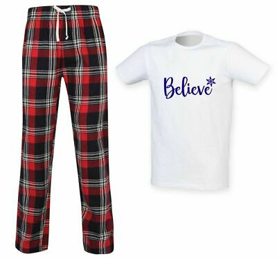 Mens Believe Christmas Tartan Trouser Pyjama Set Family Matching Twinning Family