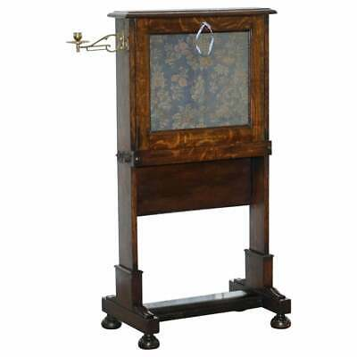 Early Victorian Oak Escritoire Desk Oriental Tapestry Laptop Work Table Campaign