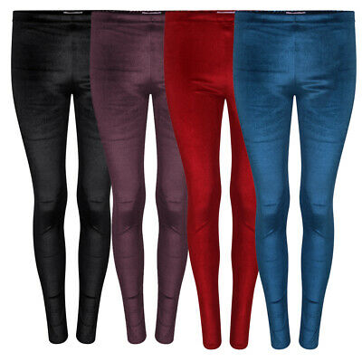 Womens Ladies Plain Velvet Leggings Full Length Soft Velour Stretch Legging