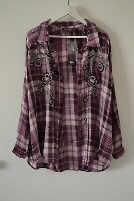 Gloria Vanderbilt Chic Shirt Button Tunic Blouse Floral Top Plus Size 2X