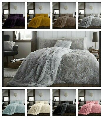 Luxury Teddy HUG & SNUG Fluffy Fur Fleece Duvet Quilt Cover Set Super Soft Touch