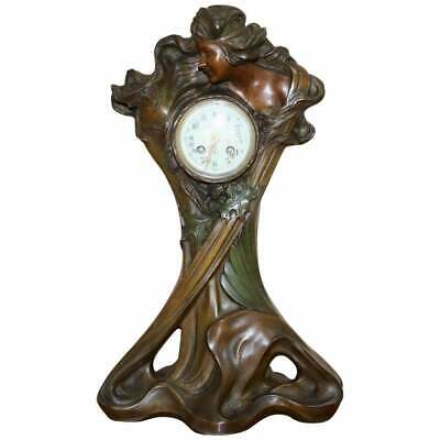 Huge Original Art Nouveau Circa 1889 Cold Painted Bronzed Clock By Seth Thomas