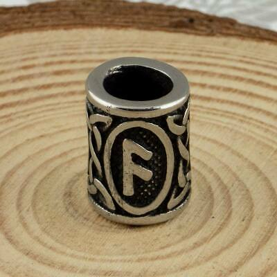 1x Viking Norse Futhark Rune Stainless Steel Bead For Hair Beards and Jewellery
