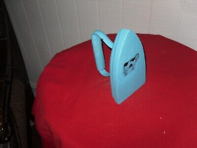 Old  Turquoise Cast Iron  Hand  Painted With Cow  Farm House Decor
