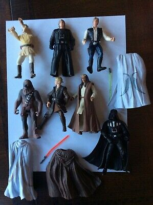 Star Wars Action Figure Lot 7 Chewbacca, Luke, Darth With Accessories