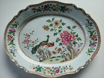 A Rare Large Chinese Export Porcelain Famille Rose Oval 'Double Peacock' Platter