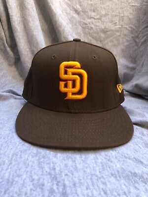San Diego Padres New Era 59Fifty Fitted Baseball Cap Brown Orange Yellow 7 1/8