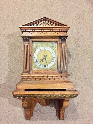Antique W&H Carved Oak Cased 5 Gongs Clock On Wall Bracket C1890.