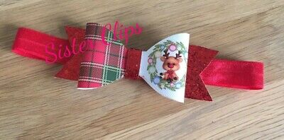 CHRISTMAS Baby Girls glitter Christmas tartan rudolph bow Soft headband