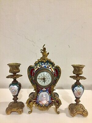Beautiful Antique Miniature Champleved  Enamelled Clock Set Garniture.