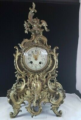 Antique Cast Brass Louis Xv Clock Ornate Decorated Untested Parts Or Repair