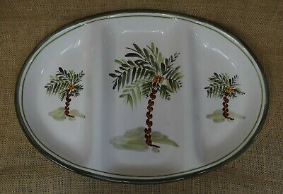 Gibson Elite Palm Court Oval Divided Serving Platter Palm Trees Hand Painted